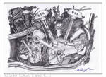 1936 BSA Y13 Motorcycle engine pencil drawing. by ivantremblac