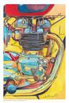 Triumph Bonneville engine watercolour painting by ivantremblac