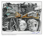 New Triumph engine pencil drawing by ivantremblac