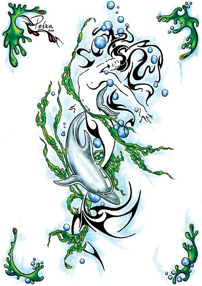 mermaid tattoo by evilorchid on deviantart. Black Bedroom Furniture Sets. Home Design Ideas