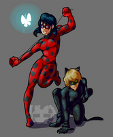 Ladybug and Chat Noir by Mango-Cat-Attack