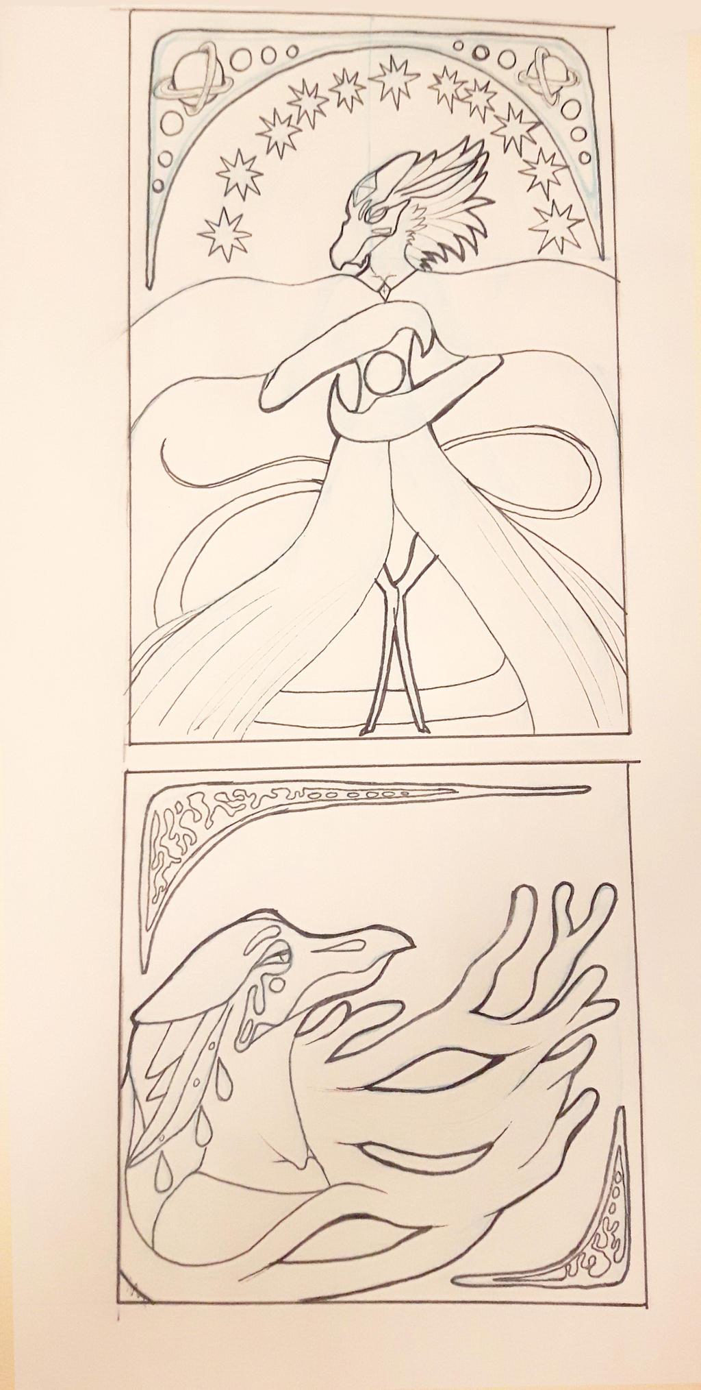 Project Art Nouveau Exemple Sketch by CelestiaDragonKnight