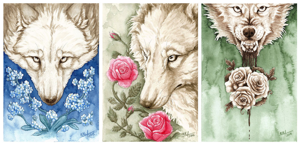 Flowers'n'wolves by Kwazar