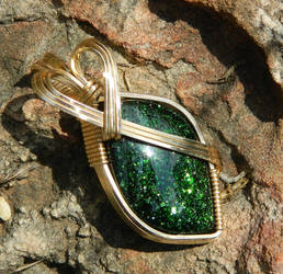 Green goldstone on sandstone by DPBJewelry
