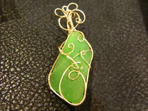 Green sea glass in gold