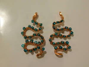 Copper earrings with turquoise blue glass beads