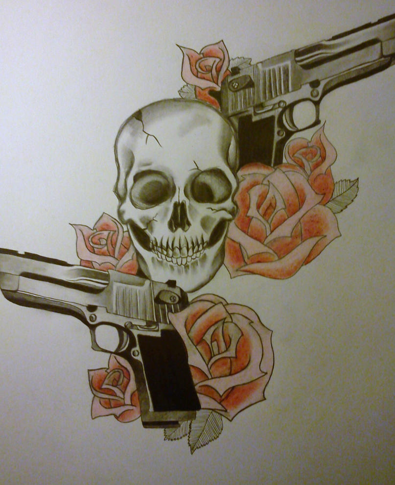 Drawings Easy Skull With Guns: Gun Skull By BloodyBlackPearl On DeviantArt