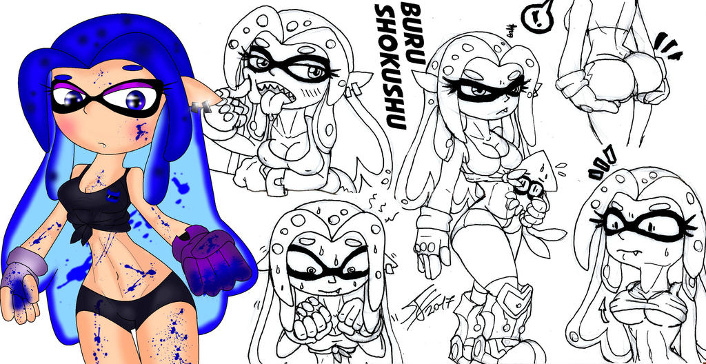 Splatoon Oc - Buru Shokushu by BlueWolfArtista