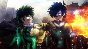 Midoriya Izuku vs Yamikumo-kun (Deku from Earth 0) by BlueWolfArtista