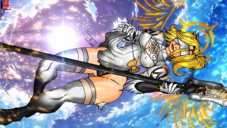 Mercy 2B - Nier Automata Overwatch by BlueWolfArtista