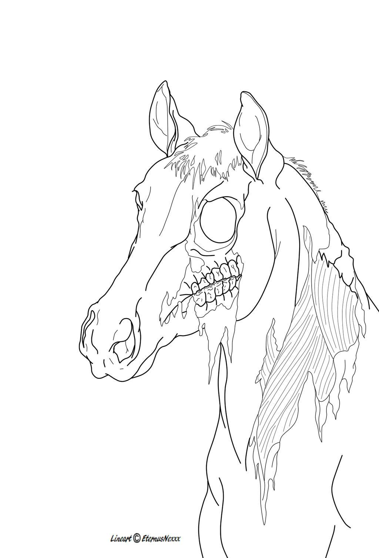 Zombie Horse Lineart by EternusNexxx on DeviantArt