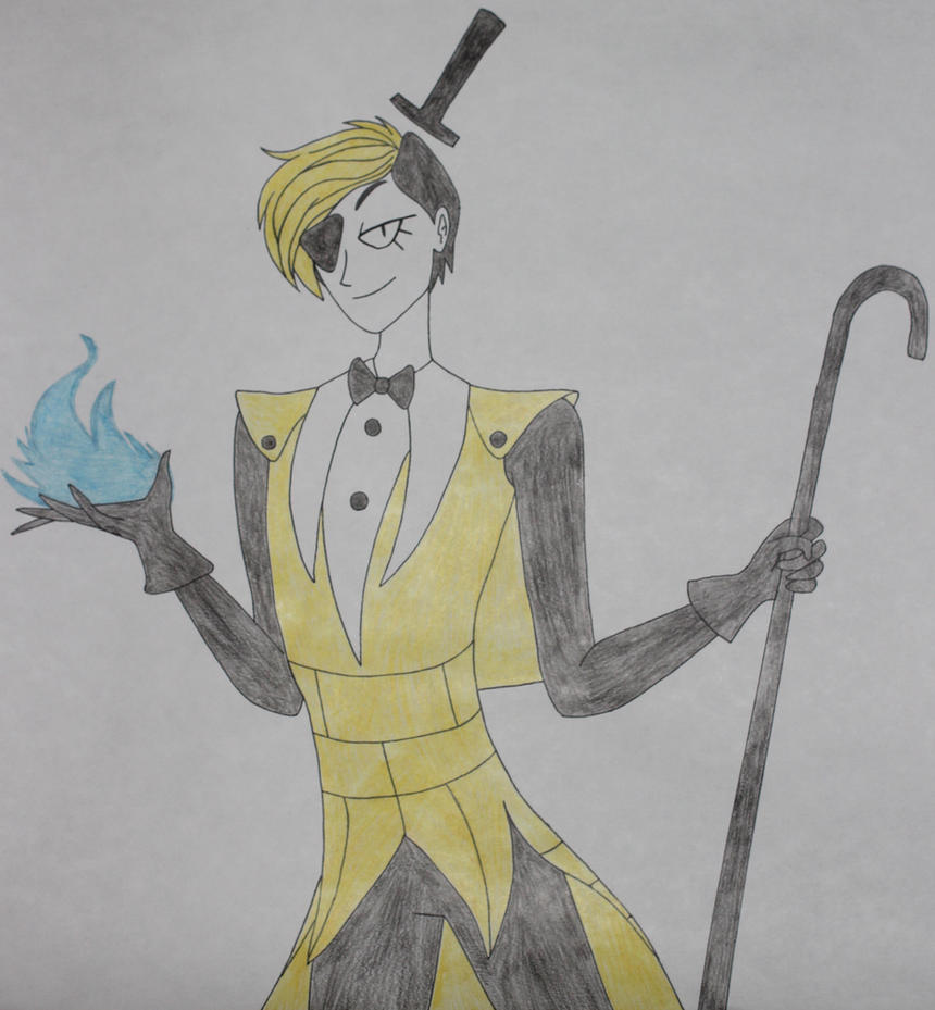 Bill Cipher human version drawing by Sweetgirl333