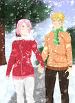 NaruSaku: Our first snow by KimikoChan017