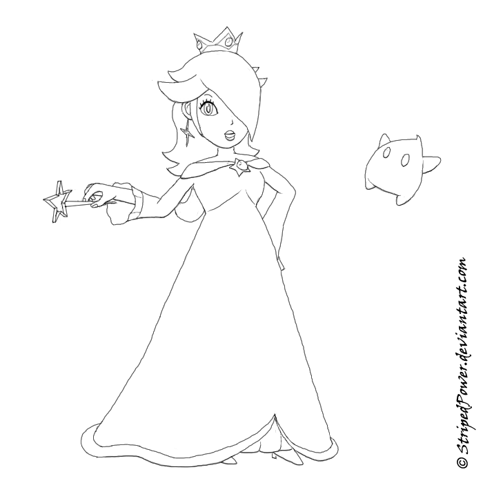 Princess Rosalina Coloring Pages : Super princess rosalina lineart by iriastar on deviantart