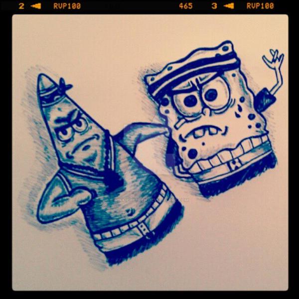 Thug Spongebob and Patrick by NikkieHeeren on DeviantArt