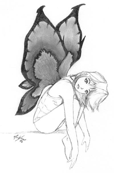 Butterfly girl sketch by buaku