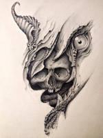 biomech horror fantasy sketch  (in progress) by blacksoulgraphics