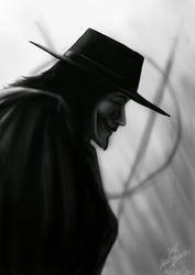 V for Vendetta fan art by kinwii