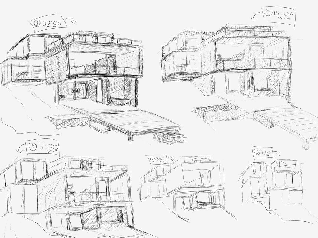 Modern House Timed Sketches By Applepieog On Deviantart