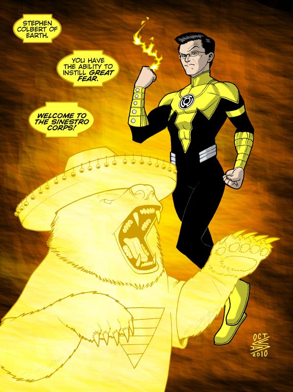Yellow Lantern Stephen Colbert by drawerofdrawings