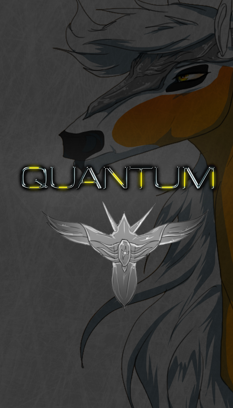 Quantum cover, with one of the main characters and the QUESL symbol.