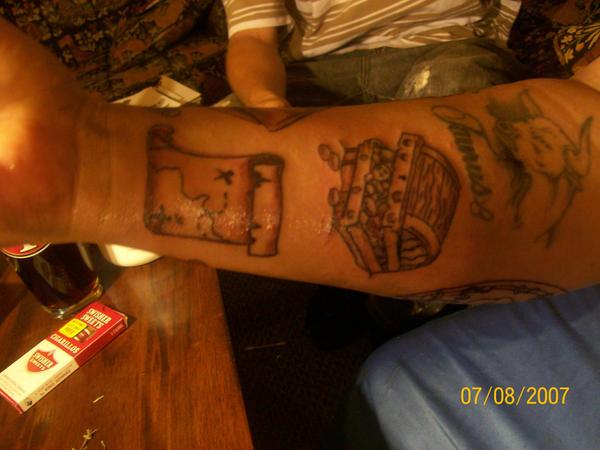 pirate tattoos - chest tattoo