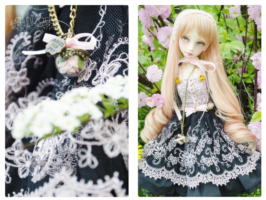 Pink Black rose dress by LadyAshi