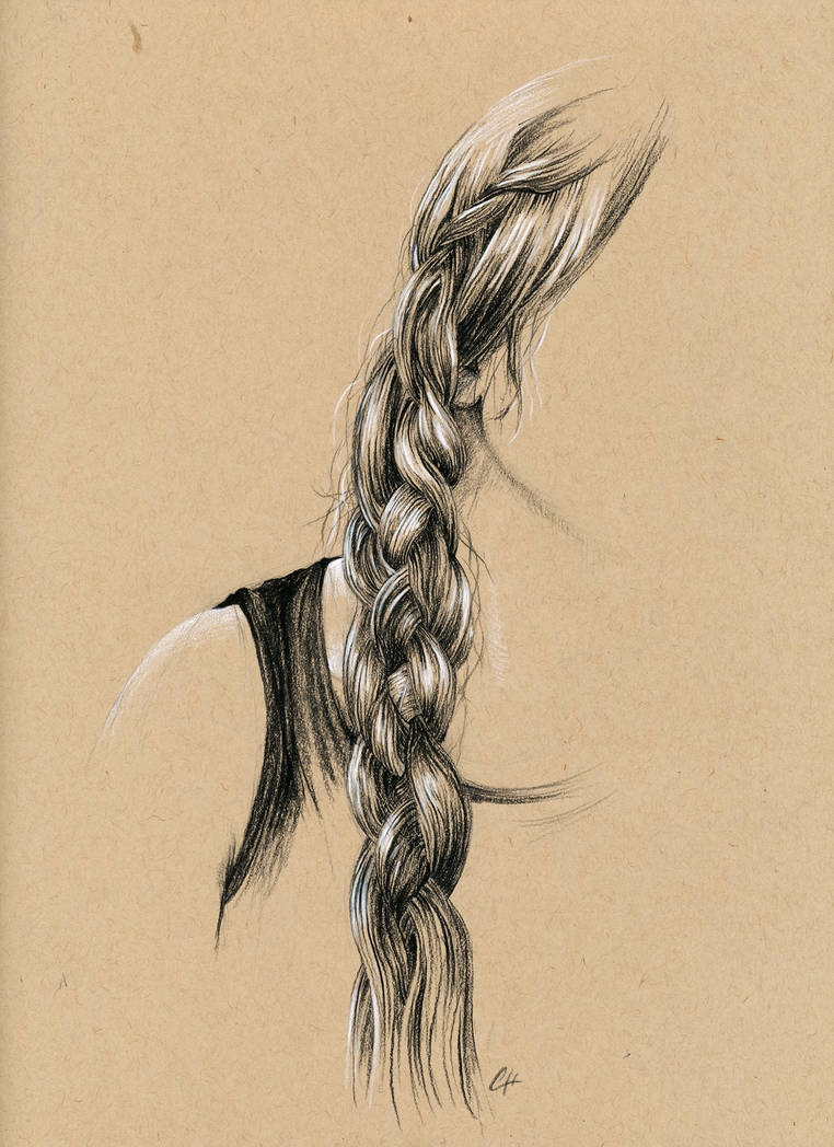 Long braid in charcoal pencil