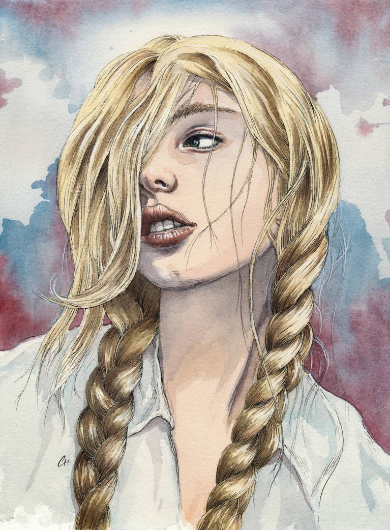 Girl with Braids, watercolor and ink