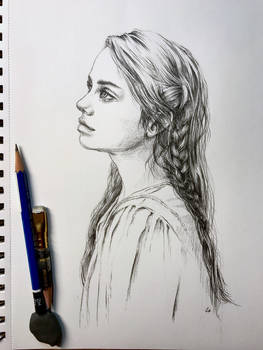 Drawing of a girl with braid in graphite