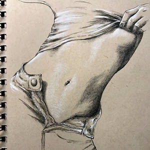Figure study in pen and charcoal pencil
