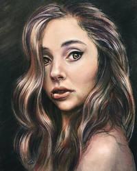 Girl biting lip, pastel pencil by leversandpulleys