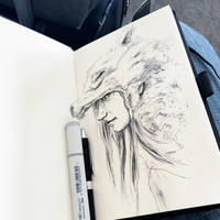 Wolf girl, airport terminal sketch