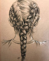 Braid study in charcoal pencil, hotel room sketch