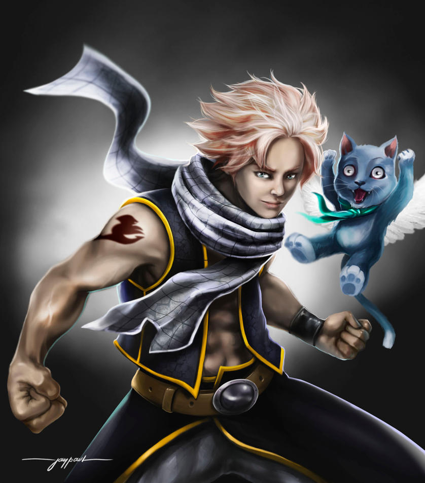 natsu and happy fairytail fanart by mindsterarts on