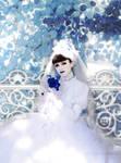 Les roses en blanc et bleu