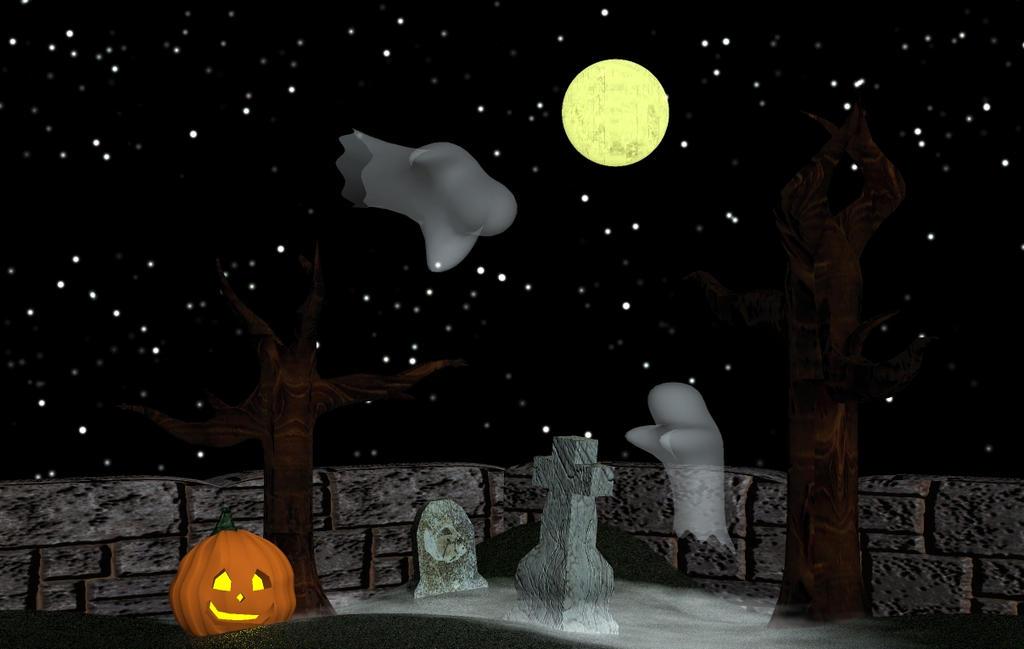 Halloween Scene by GwillaTheDragon