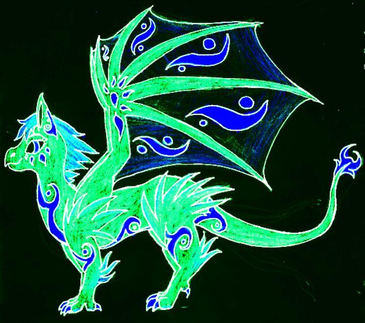 Adoptable Neon Dragon by GwillaTheDragon
