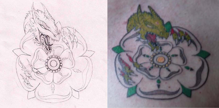 Dragon and Rose Tattoo Designs