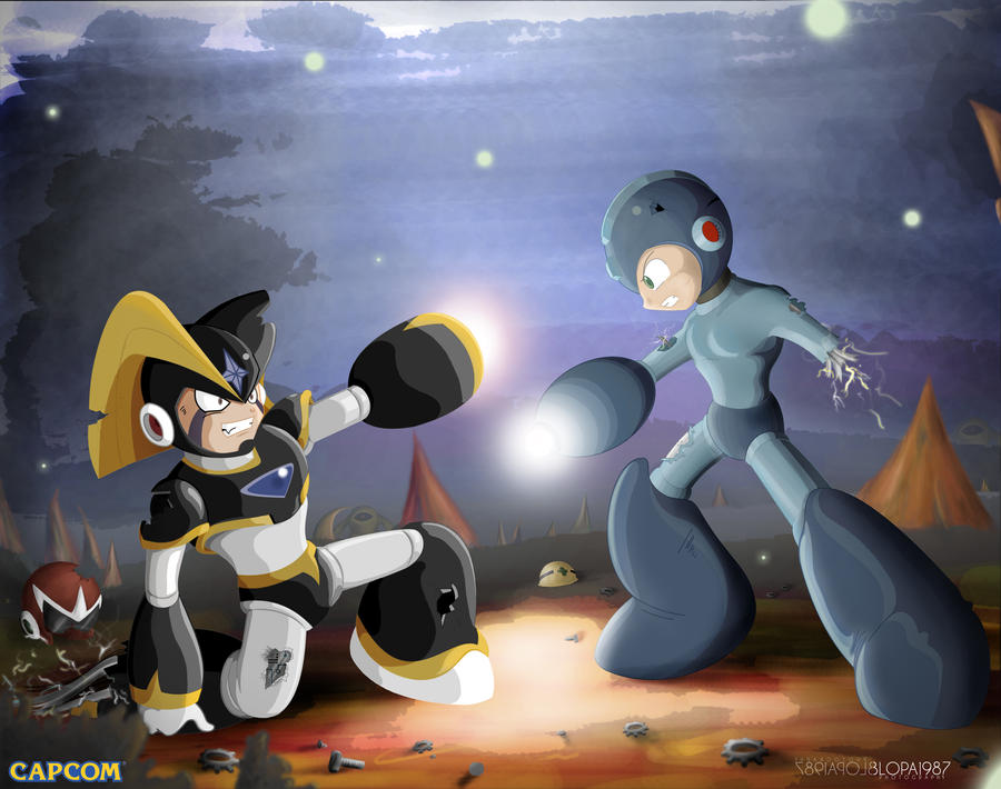 megaman and bass final battle by Blopa1987