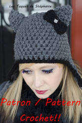 Crochet pattern to Cat ears with bow by Snyki