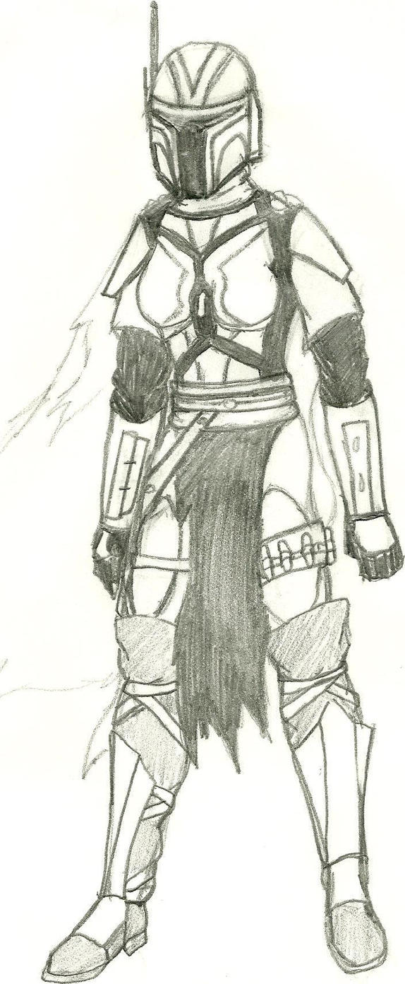 Mando'ade Armor sketch Collaboration by SheiBKroeker
