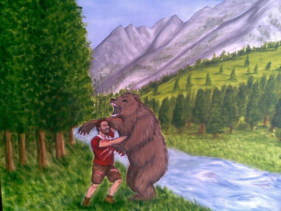 man wrestling bear