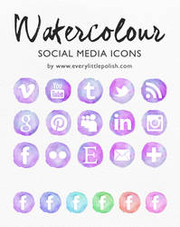 Watercolour Social Media Icons by everylittlepolish