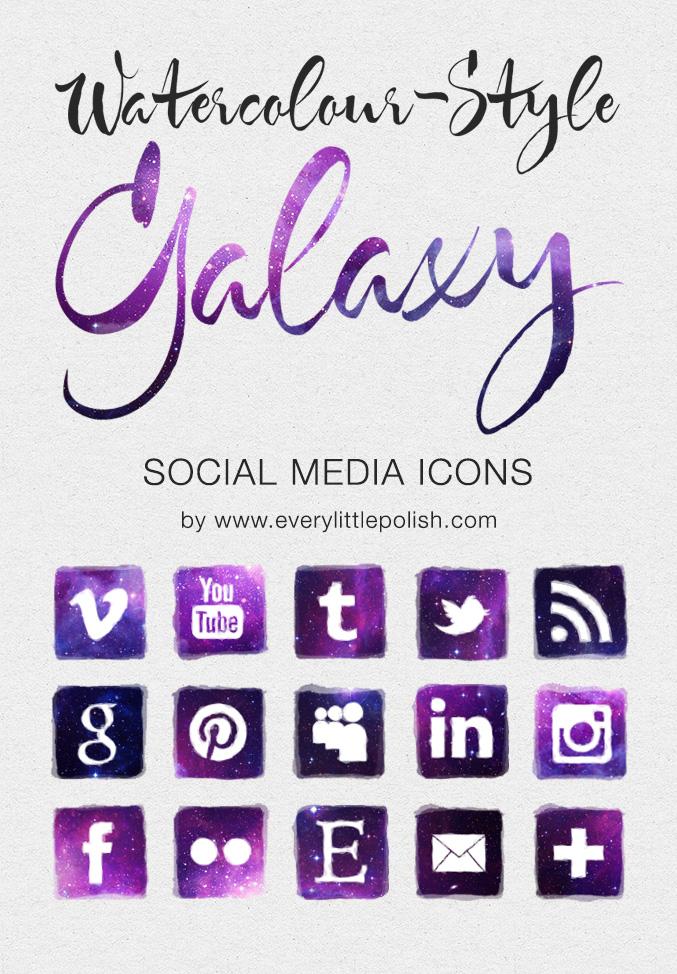 Watercolour-style Galaxy Social Media Icons