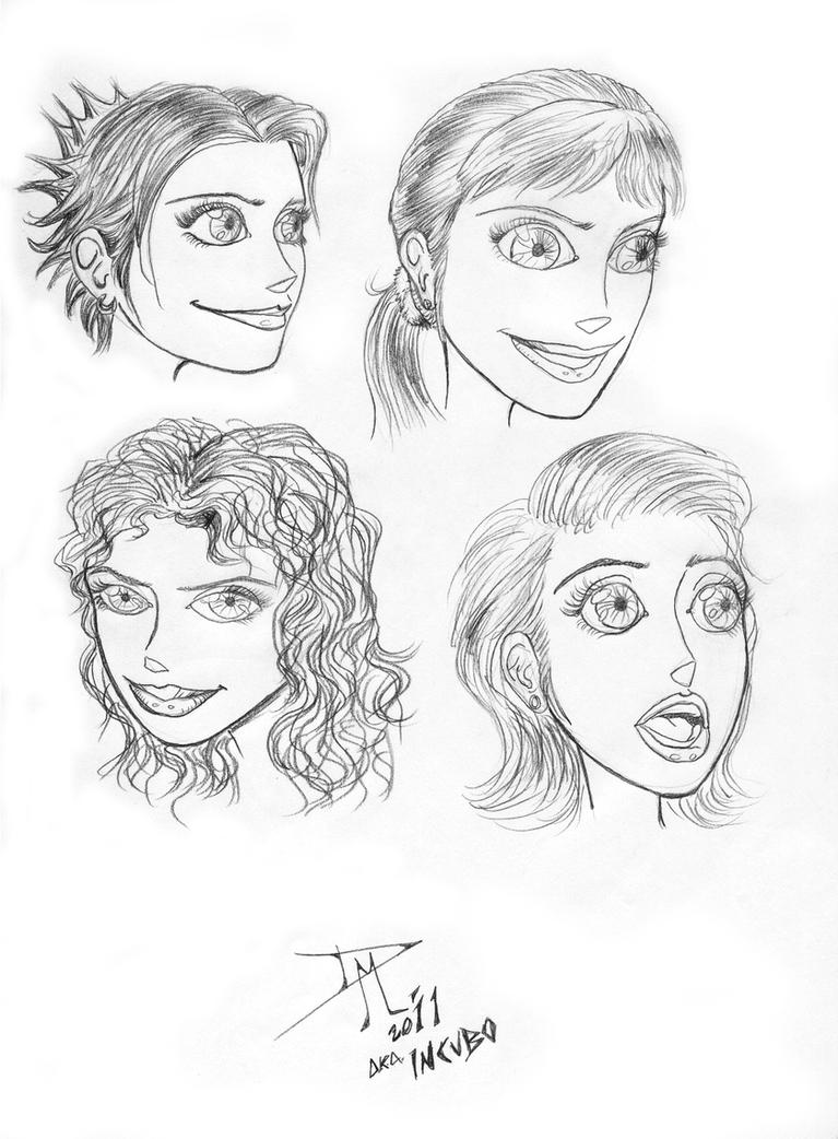 cartoon girl faces by incubo13