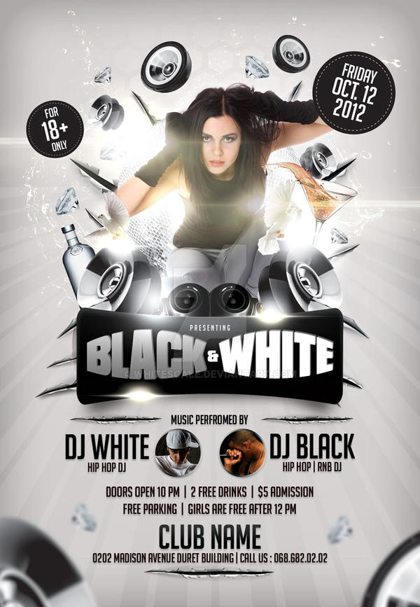 Black And White Flyer Template By Whitescale On DeviantArt - Black and white flyer template free