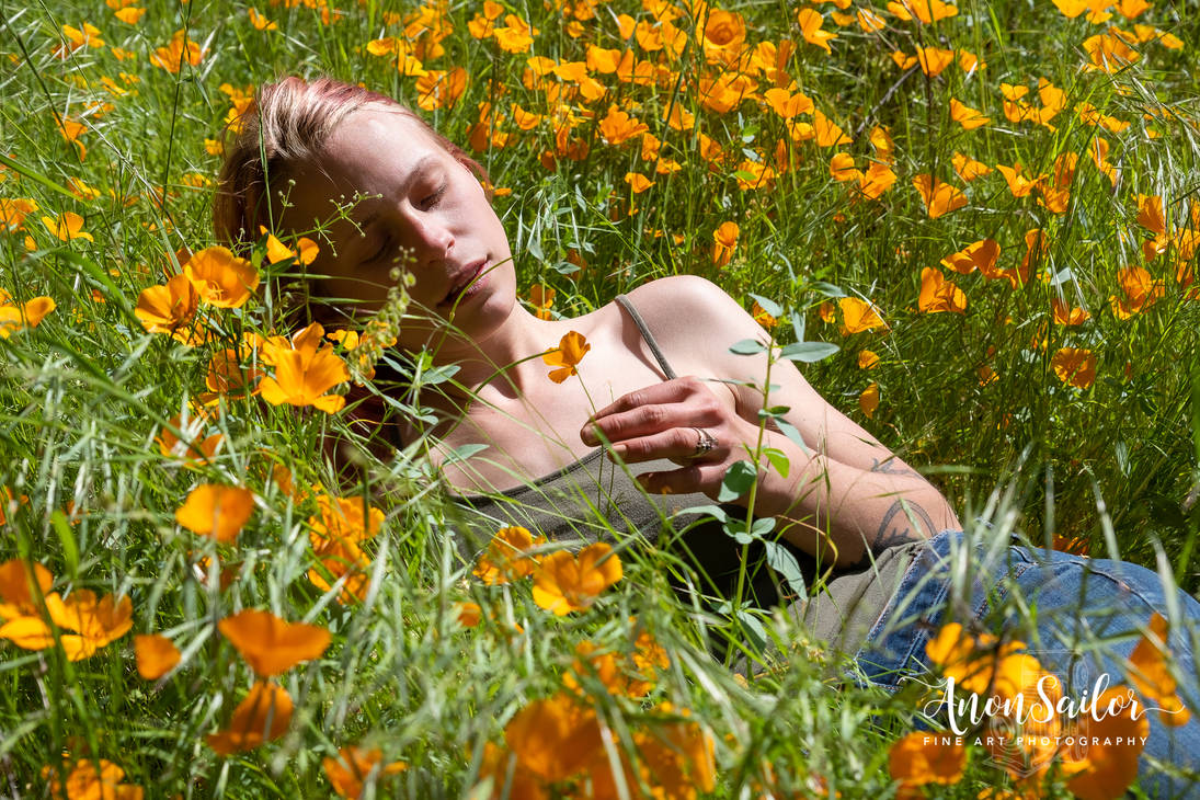 Kaitlyn in a field of poppies...