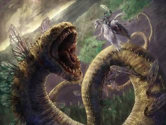 WormFlyDragon Fight by benjaminclair
