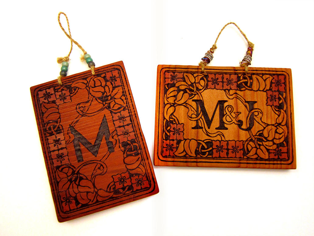 Art Nouveau Wood Burned Sign by mighty5cent